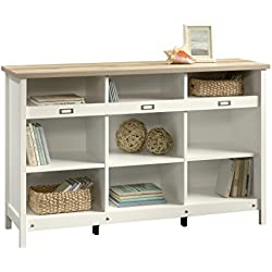 Sauder 417653 Bookcase, Storage Cabinet Adept Soft White Credenza, one Size, Craftsman Oak-White