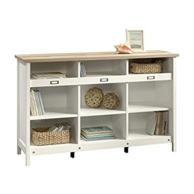 """Sauder 417653 Adept Storage Credenza, L: 58.19"""" x W: 17.17"""" x H: 36.26"""", Soft White finish - Enhance any room with this attractive and versatile storage credenza The cube storage style offers multiple shelves for tucking away baskets and other household items Cubbyhole storage - living-room-furniture, living-room, bookcases-bookshelves - 418j%2B0vPK7L. SS400  -"""
