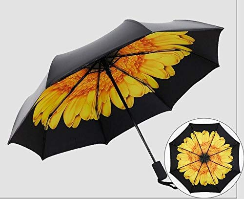 ZGMMM Ombrello da Fiore Completamente Automatico Ombrello da Sole Nero Ombrello da Pioggia per Donna dAffari///A