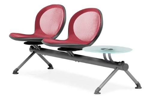 (OFM NB-3G-RED Net Series Beam Seating with 2 Chairs and Single Table,)