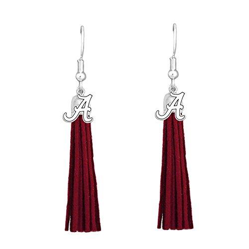 Alabama Crimson Tide Red Leather Tassel Silver Charm Earring Jewelry Gift UA