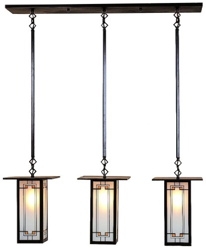 Arroyo Craftsman FICH-9L/3-Y-BZ Franklin Collection 3-Light Island Pendant, Bronze Finish with Yellow-Black Glass