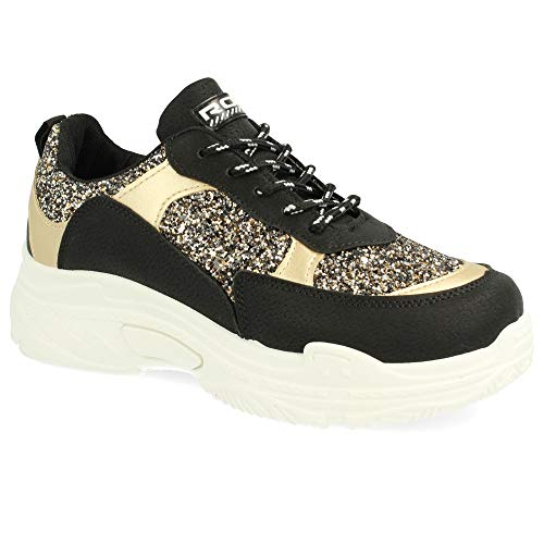 el y Redondas de Piso Purpurina Negro Blanco y con cordoneras Texturizado en y Detalles Sneaker Metalizados 6n5ZW
