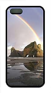 iPhone 5 5S Case Landscapes rainbow TPU Custom iPhone 5 5S Case Cover Black