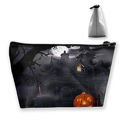 Halloween Pumpkin Castle Art Cosmetic Tote Bag Carry Case - Large Trapezoidal Storage Pouch - Travel Accessories Portable Make-up Bag