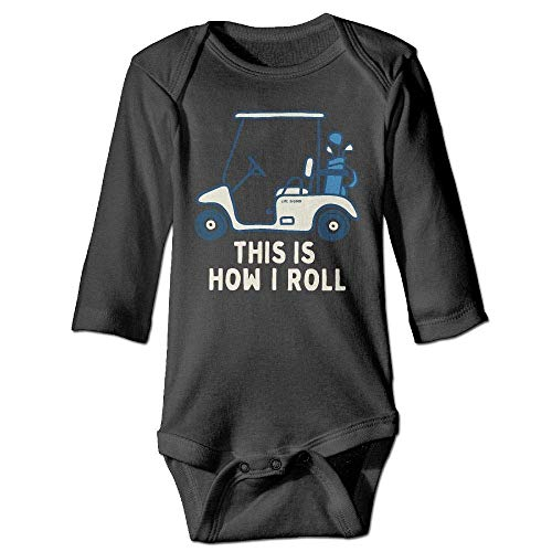 (HRYKJ Newborn Baby Boys Girls Long Sleeve Romper Bodysuit This is How I Roll Golf Cart Print Jumpsuit Onesie)