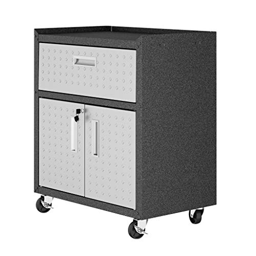 (Manhattan Comfort Fortress Collection Modern Designed Mobile Storage Garage Cabinet Great For Tools and Supplies, Stainless Steel)
