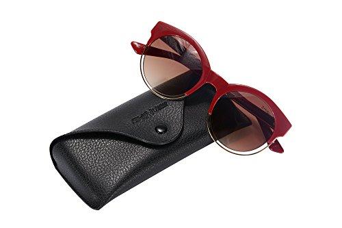 SHINU Brand Women's Sunglasses Retro Round Frame Glasses for Women Fashion Sunglasses-SH71018(Red,Gradient - Sunglasses Brand Own Your