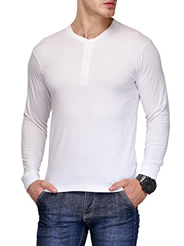 TSX Men's Cotton Henley T-Shirt (TSX-HENLY-1-L_White_Large)