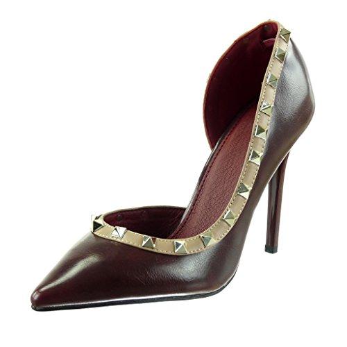 Angkorly - damen Schuhe Pumpe - Stiletto - Dekollete - Offen - Nieten - besetzt - Quadrat Stiletto high heel 10.5 CM Burgunderrot