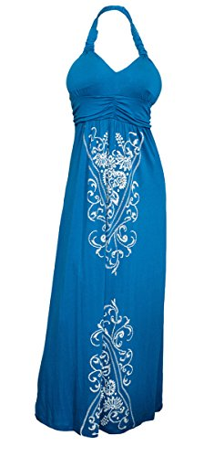 eVogues Plus Size Maxi Cocktail Cruise Halter Dress with Embroidery Print Detail Royal Blue - 2X