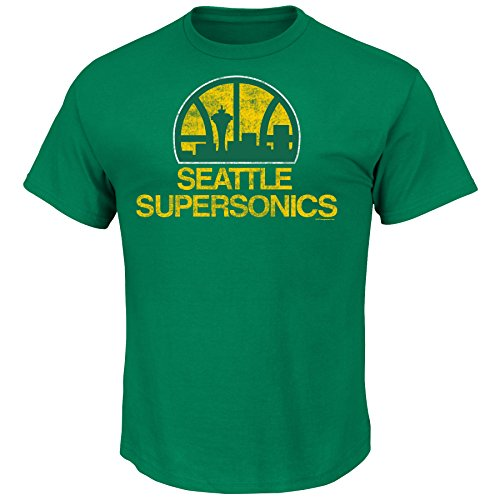NBA Seattle Supersonics 1975-95 Mens Sonics Post Up Short Sleeve Basic Crew Neck T-Shirt, Kelly Green, Small