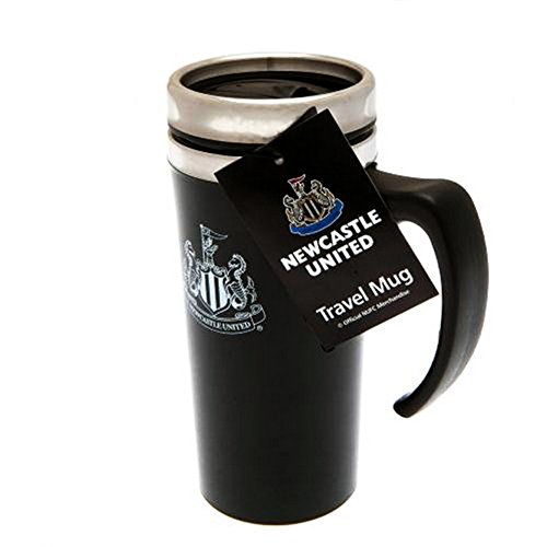 Newcastle United FC Official Soccer Aluminum Travel Mug (One Size) (Black/Silver)