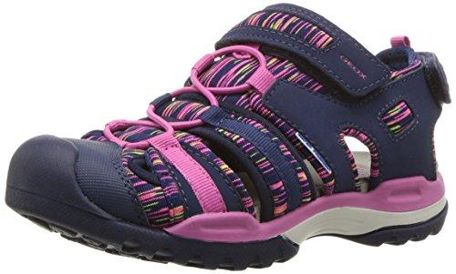 Geox Borealis Girl 8 Sandal, Navy/Fuchsia, 24 M EU Toddler (8 US)