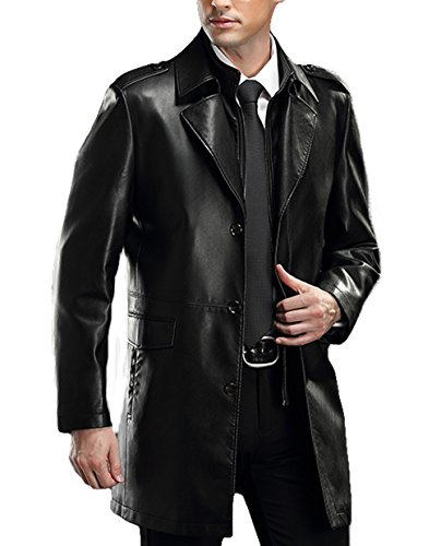 Long Black Leather Coat - 7