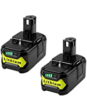 2 Pack P104 Lithium Battery for Ryobi 18v One+ Impact Drill Tools P102 P103 P105 P107 P108 P109 P122, MASIONE 4.0Ah Extended Li-Ion Battery Pack