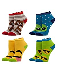 Emojione - 4 pack Emojis Ankle Small Socks - Poop Alien Smiling Face With Sunglasses