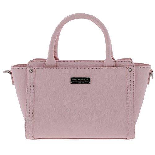 Jones New York Womens Avery Faux Leather Logo Satchel Handbag Pink Medium