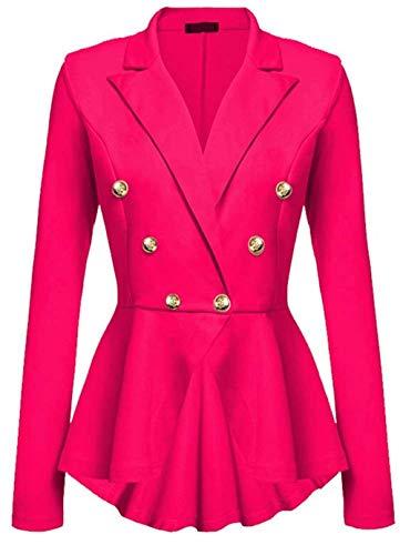 Casual Puro Con Eleganti Rose Cappotto Manica Giacche Pieghe Moda Fit Colore Button Di Giacca Donna Marca Tailleur Ufficio Bavero Autunno Da Lunga Blazer Business Primaverile Mode Slim wqRTpgH