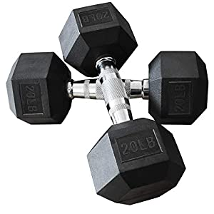 Well-Being-Matters 418j1hzNQ1L._SS300_ Balelinko Hex Dumbbells Free Weights Set with Metal Handles Rubber Encased Solid Cast Iron Hex Dumbbell