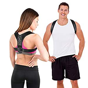 LIFEWAY Posture Corrector for Men & Women - Upper Back Brace for Spine & Clavicle Support - Relives Pain in Neck & Shoulder Caused by Slouching Hunching Kyphosis - Adjustable Comfortable