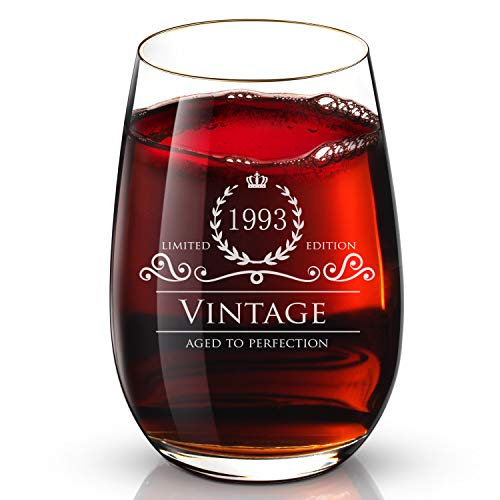1993 25 Birthday Gifts for Women and Men 24K Gold Wine Glass - Funny Vintage Anniversary Gift Ideas for Mom, Dad, Husband or Wife - 13 oz Glasses for Red or White Wine - Party Decorations