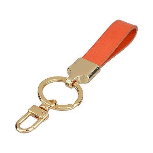 Richbud Full Grain Leather Gold Key Ring Lobster Swivel Keychain Fob (Orange)