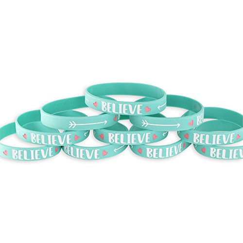 BELIEVE - Motivational Green Silicone Wristband (10 - Pack Inspirational Value