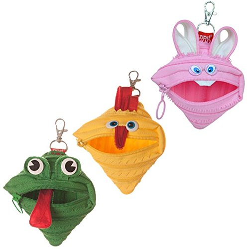 ZIPIT Animals Mini Pouch Coin Purse, 3-Pack (Bunny, Chicken, Frog)