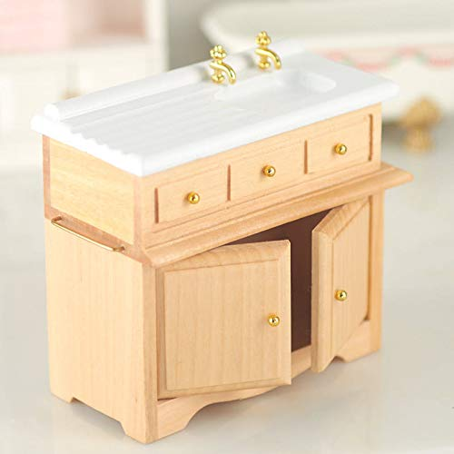 Factory Direct Craft Dollhouse Miniature Kitchen Sink with Oak Cabinet