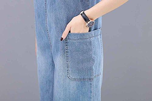 de Overoles cómoda Talla Claro Extra Elwow Rodilla Pierna Corta de y Cortos Mezclilla diseño Transpirable de Pantalones Ancha con Dama Lavada Grande Verano de Azul qSZzfqp