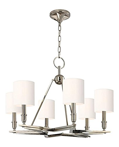Polished Nickel Bethesda 6 Light Single Tier Chandelier with White ()