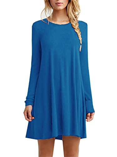 l Plain Long Sleeve Loose Swing Cotton Dress, Sky Blue, Small ()