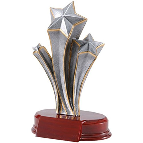 Engraved Corporate Awards - Gold / Silver Triple Shooting Star Trophy - Gold / Silver Finish - Red Base - Academic or Corporate Business Award - Personalized & Engraved plate included - Decade Awards