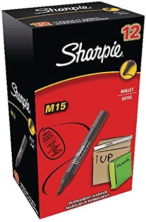 Sharpie M15 Permanent Marker Bullet Black 12 Pack: Amazon.es: Oficina y papelería