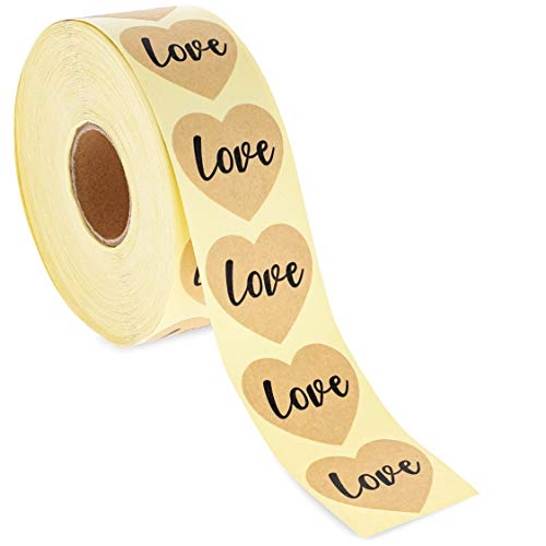Best Paper Greetings 1000-Piece Kraft Love Stickers Roll - Heart Labels for Wedding Envelopes, Scrapbooking, and Crafts, 1.5 Inches -