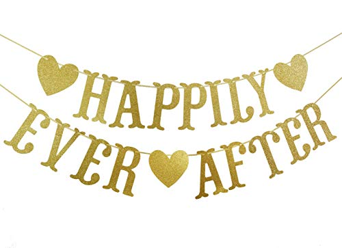 Happily Ever After Gold Glitter Bunting Banner, Engagement,Bridal Shower, Wedding Party Decorations ()