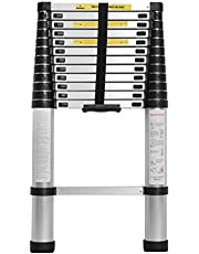 Soges Aluminum Telescopic Extension Ladder,Extendable Telescoping Ladder with Spring Loaded Locking Mechanism Non-slip Ribbing 330 Pound Capacity EN131 Certified