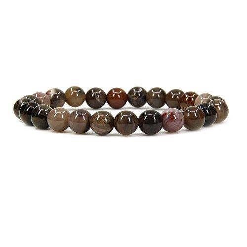 Amandastone Natural Petrified Wood Fossil Gemstone 8mm Round Beads Stretch Bracelet 7