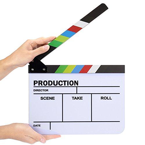 Neewer - Claqueta Slateboard Clapper, Acrílico Colorido, Corte/ Acción/ Escena Borrada del Director de Película, 25x30...