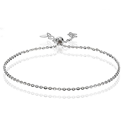 old 1.4mm Italian Diamond-Cut Cable Adjustable Chain Bracelet, 7-9 Inches (White Gold Cable Bracelet)