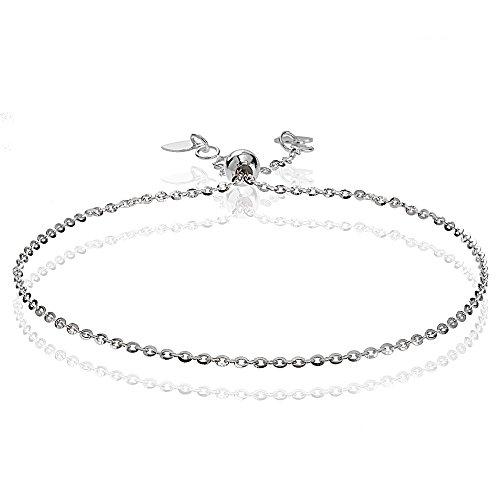 Bria Lou 14k White Gold 1.4mm Italian Diamond-Cut Cable Adjustable Chain Bracelet, 7-9 Inches by Bria Lou