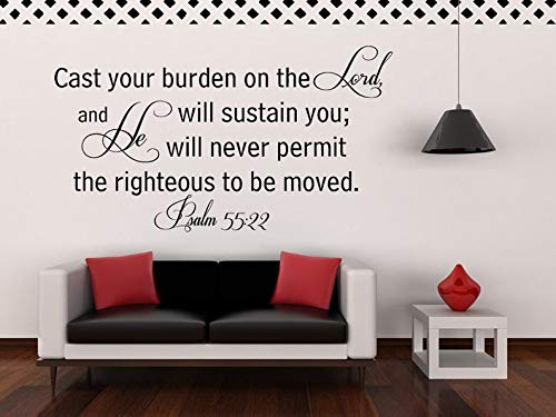 CECILIAPATER Psalm 5:22 Wall Decal - Bible Verse Wall Decal - Christian Wall Decal - Scripture Wall Decal - Cast Your Burden on The Lord.