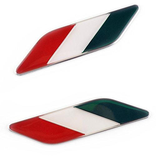2pcs Clear Resin Italian Flag Side Wing Fender Emblem Badge Sticker Decal