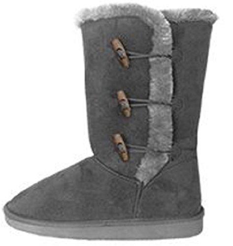 Chaussures 18 Femmes 10 Grandes Bottes Mi-mollet Fausse Peau De Mouton Fourrure Shearling 5520 Gris