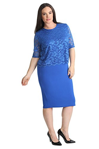 2 In 1 Lace Top Dress Royal Blue 22-24