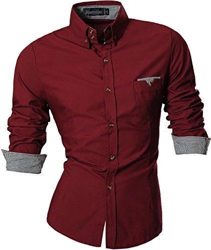 jeansian Herren Freizeit Hemden Shirt Tops Mode Langarmshirts Slim Fit 8312 (US M, Z019_WineRed)
