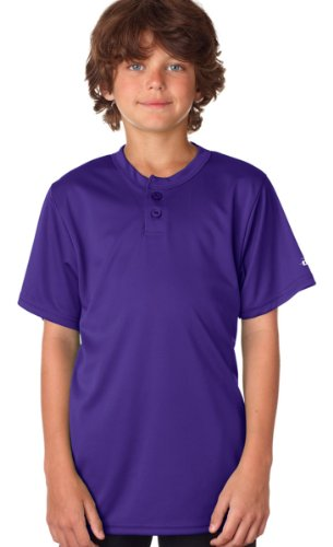 Badger Youth B-Core Performance Henley Tee - Purple - (Badger T-shirt Henley)