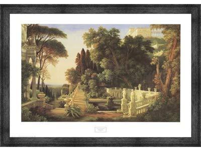 Poster Palooza Framed Italian Villa- 32x24 Inches - Art Print (Black Barnwood Frame)