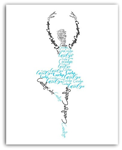 Ballerina Personalized Name Print, Ballet Dancer Gift, Dance Art, 8x10 or 11x14 Print